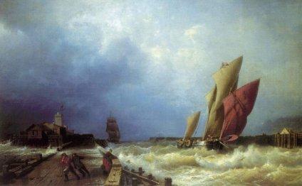 Вход рыбачьего судна в бурю в